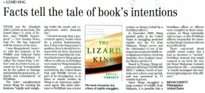 Lizard King:  Facts Tell the Tale of Book's Intentions, NST, 9-26-2008